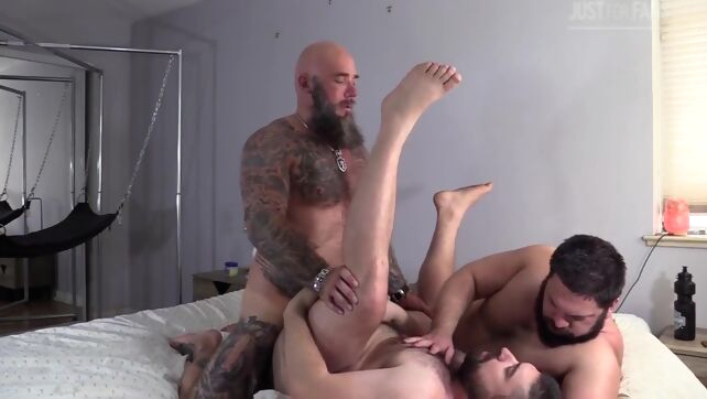 Gay Xnxx - Bears 3some bareback